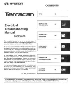 Hyundai Terracan 2002-2005 Electrical Troubleshooting Manual