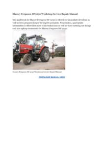 Massey Ferguson Mf 3050 Workshop Service Repair Manual