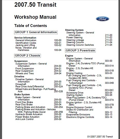 Ford Transit Tourneo 2007 Workshop Service Repair Manual